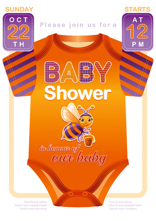 Unisex baby shower invitation design with body suit in orange and violet color. Cute bee icon.