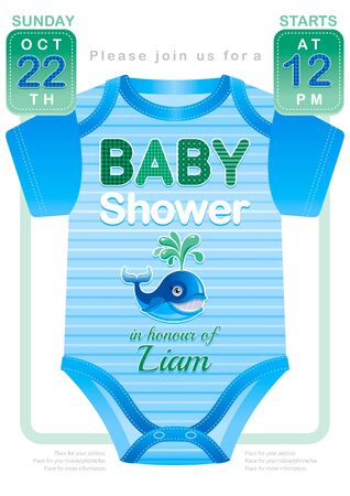 Baby shower boy invitation design with body suit in blue and green color on white background. Cute whale icon with water fountain