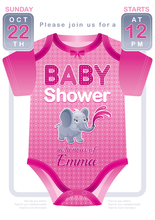 baby in suit: Baby shower girl invitation design with body suit in pink purple color on white background. Cute elephant icon