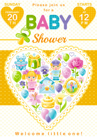 unisex: Baby shower invitation design in unisex yellow color for boy or girl with child icon set. Gift box, teddy bear toy, lily flower, rose, baloons, cake, envelope, photo frame