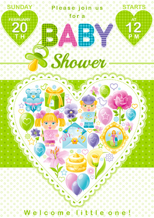unisex: Baby shower invitation design in unisex green color for boy or girl with child icon set. Gift box, teddy bear toy, lily flower, rose, baloons, cake, envelope, photo frame Illustration