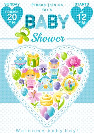 Baby shower invitation design in blue color for boy with child baby shower invitation design in blue color for boy with child icon set gift box filmwisefo