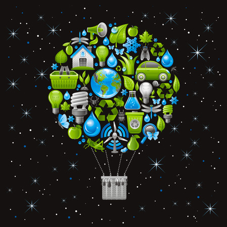 air baloon: Ecological set with vintage baloon for air travel and green icons. Environment protection concept with recycling symbol, Earth globe, garbage can, electric car, light bulb, insect, wind turbine, water