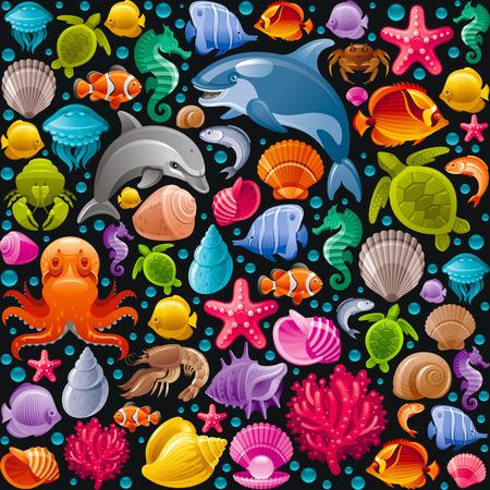 de fondo sin fisuras del viaje por mar con los animales de buceo bajo el agua. Delfín, ballena asesina, estrellas de mar, corales, perlas, peces mariposa, los depósitos tropicales, caballitos de mar, pulpos, tortugas marinas y los iconos más marinos
