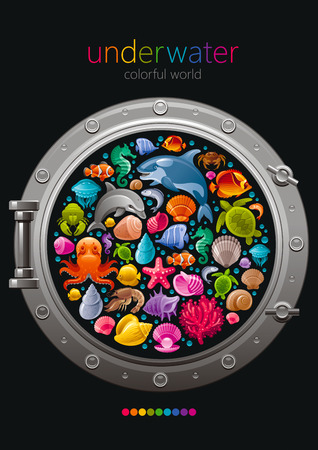butterfly fish: Sea travel icon set with underwater diving animals. Dolphin, killer whale, starfish, coral, oyster pearl, butterfly fish, tropical shells, sea horse, octopus, turtle and more marine icons in porthole Illustration