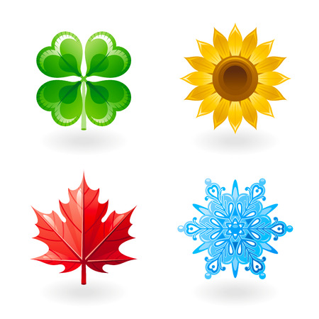 Four seasons nature flat icon set. Green shamrock leaf as spring symbol, yellow sunflower as summer design element, red maple leaf as autumn object, blue snowflake as winter clip art.