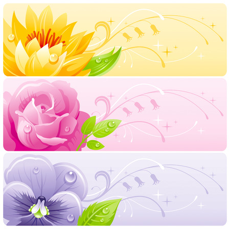 flower banner: Summer flowers banner set with natural background. Water lily, rose, violet flower for invitation design - wedding card, birthday, bridal shower, mothers day and more. Illustration