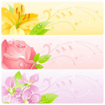 Summer flowers banner set with natural background. Yellow lily, rose, cherry blossom flower for invitation design - wedding card, birthday, bridal shower, mothers day and more.