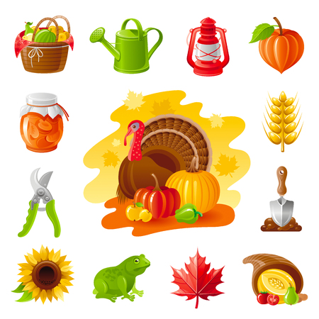 horn of plenty: Autumn nature gardening icon set with farm and agriculture icons. Fruit basket, lamp, jem, secateurs, ear, sunflower, frog, maple leaf, horn of plenty, shovel, turkey and pumpkin Illustration