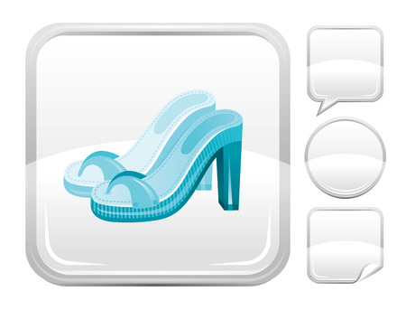 clogs: Sea beach and travel icon with fashion clogs on square background and other blank button forms - speaking bubble, circle, sticker