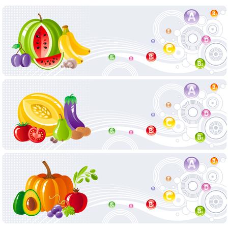 Zestaw ikon jedzenia i picia dla zdrowego odżywiania. Tabela owoców, warzyw, jagód i orzechów pokazuje wszystkie niezbędne witaminy i żywność, która je zawiera. Ilustracje wektorowe