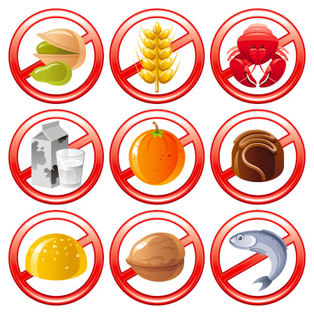pollen: Allergen food icon set shows allergy to products with prohibition sings.
