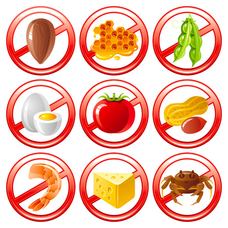 Allergen food icon set shows allergy to products with prohibition sings. Vetores
