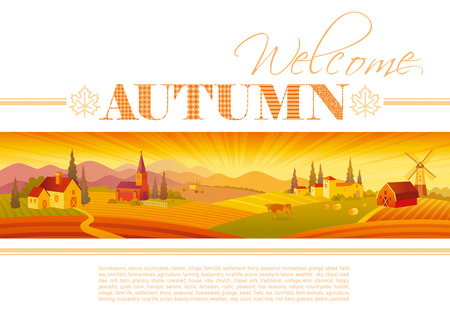 autumn scene: Idyllic farming landscape flyer design with text