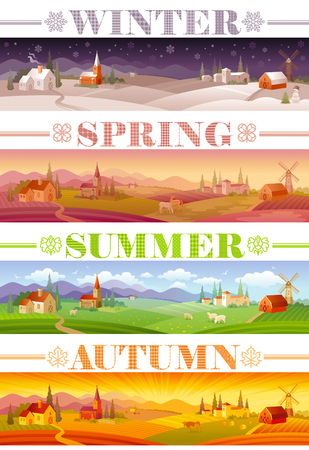 spring summer: Idyllic farming landscape flyer design with text