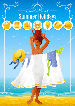 sexy umbrella: Summer travel beach background with beautiful tan sexy girl. Illustration