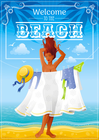 tan: Summer travel beach background with beautiful tan sexy girl. Invitation design for summer beach party with icon set