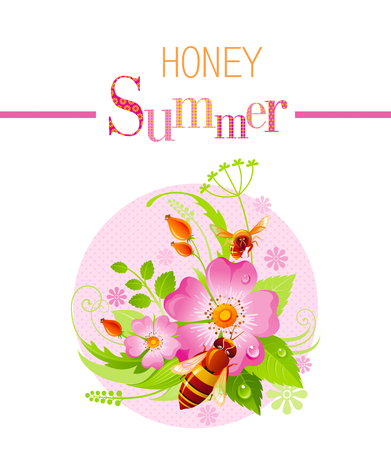 wild grass: Summer icon with nature elements - wild rose flower, green grass, leafs, bees on pink background