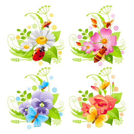 grass close up: Summer banner set with flower and insect icons and bee
