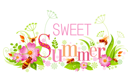 morning dew: Summer natural background design with beautiful swirls, leafs, rose flowers, bees and text Sweet Summer with textured letters on white background. Vector illustration for any summer event.