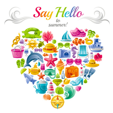 flayer: Sea travel flayer design with heart composed of vacation summer symbols.