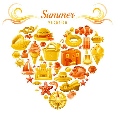 helado caricatura: diseño flayer del viaje por mar con el corazón compuesto de símbolos de vacaciones de verano.