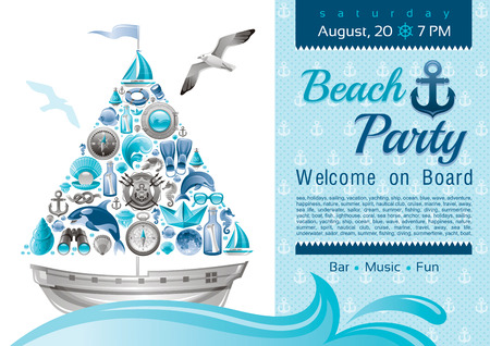 sail boat: Sea summer travel banner invitation design for beach party with sail boat and icon set. Yachting coat of arms, compass rose, binoculars