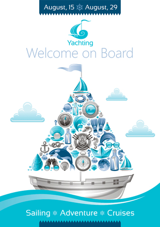 sail boat: Sea summer travel banner invitation design with sail boat and icon set. Yachting coat of arms, compass rose, binoculars, killer whale