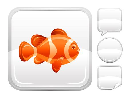 bubble sea anemone: Sea summer beach and travel icon with tropical clown fish on square background and other blank button forms - speaking bubble, circle, sticker Illustration