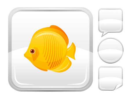 beach butterfly: Sea summer beach and travel icon with tropical butterfly fish on square background and other blank button forms - speaking bubble, circle, sticker Illustration