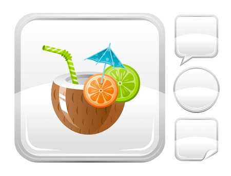 blank button: Sea summer beach and travel icon with coconut cocktail on square background and other blank button forms - speaking bubble, circle, sticker