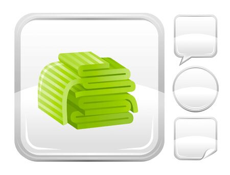 towels: Sea beach and travel icon with towels and other blank button forms