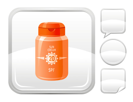 sun protection: Sea beach and travel icon with sun protection cream and other blank button forms