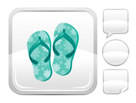 blank button: Sea beach and travel icon with shoes and other blank button forms Illustration