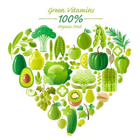 calabaza caricatura: icono de la comida vegetariana conjunto con las frutas y verduras orgánicas en el fondo blanco. los iconos de limón verde y colección. Calabaza, icono de brócoli, uvas de la fruta, icono de kiwi, aguacate vegetal, icono de espárragos