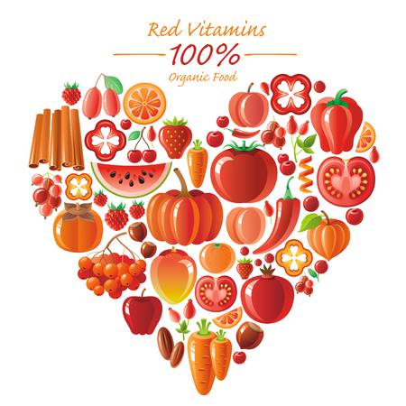 pumpkin tomato: Vegetarian food icon set with organic fruits and vegetables on white background. Red and orange icons collection. Tomato cion, pumpkin, chili pepper icon, apple fruit, watermelon, mango fruit, berries