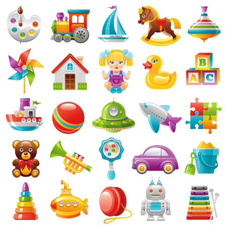 Baby toys icon set, palette, train, yaht, horse, whirligig, mill, toy house, dall, duck, baby block, boat, UFO, plane, puzzle, teddy bear, trumpet, car, pyramid, submarine, robot, xylophone Illustration