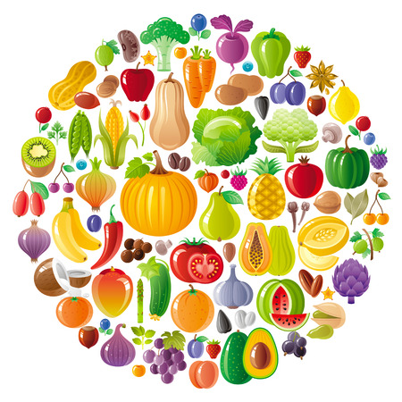 cartoon carrot: Vegetarian icon set with fruits, berries and vegetables icons on white background