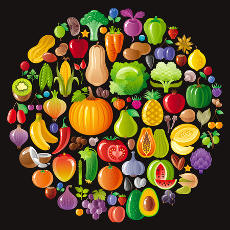 Vegetarian icon set with fruits, berries and vegetables icons on black background Illustration