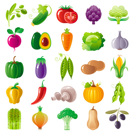 Vegetarian food icon set with organic fruits, vegetables, berries.