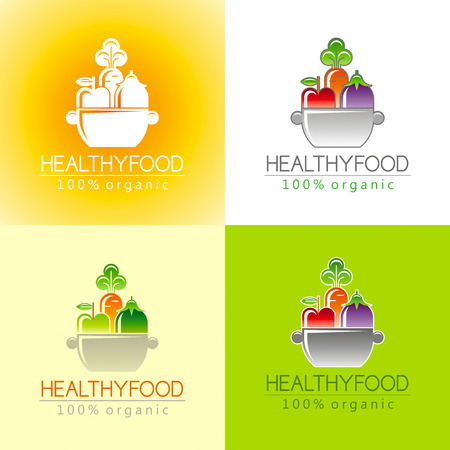 siluette: Healthy organic food icon set with fresh fruits, vegetables and pan for cooking. Apple fruit icon, carrot vegetable, eggplant. Sign for restaurant, supermarket, farmers market. Color background