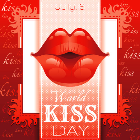kissing lips: kissing woman lips with red lipstick on red background. Icon with text and vintage frame for greeting card design.