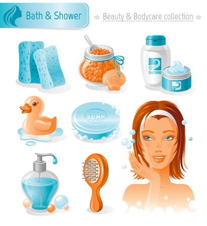 young adult: Beauty and cosmetics icon set with beautiful young adult woman, holding hand near face on white background. Bath and shower healthy lifestyle symbols for peoples hair, skin and body care. Illustration