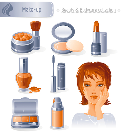 young adult: Beauty and cosmetics icon set with beautiful young adult woman, holding hand near face on white background. Makeup healthy lifestyle symbols for peoples hair, skin and body care.