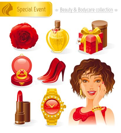 ruby gemstone: Beauty and cosmetics icon set with beautiful young adult woman, holding her hand near face on white background. Healthy lifestyle symbols for peoples hair, skin and body care Illustration