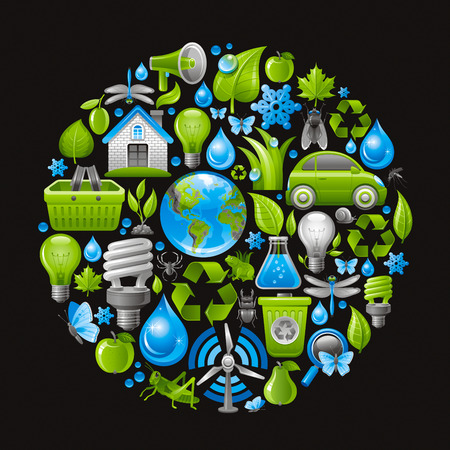 electric turbine: Ecological set with green icons on black background for environment protection concept. Recycling symbol, Earth globe, garbage can, electric car, light bulb, insect, organic food, wind turbine, water Illustration