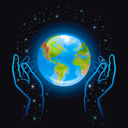 Vector illustration with human hands holding blue Earth planet icon. Space with stars black sky.