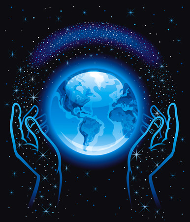 human hands: Vector illustration with human hands holding blue Earth planet icon. Space with stars black sky.