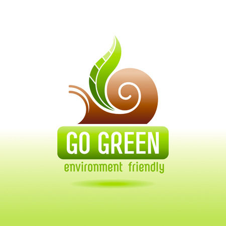 turismo ecologico: Ecological symbol logo with snail shell and green plant leaf. Ecology and nature concept. For gardening, environment, tourism topics. Flat siluette vector icon on white background