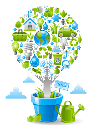 electric turbine: Ecological design with ecology nature symbols icon set in tree. White background. Environment protection concept includes recycling symbol, Earth globe, garbage can, electric car, light bulb, turbine Illustration